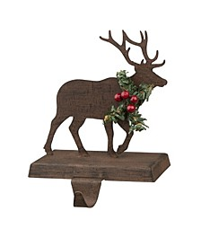 "6.50"" H Wooden Reindeer Stocking Holder"