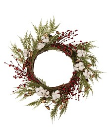 "22""D Cotton Berries Wreath"