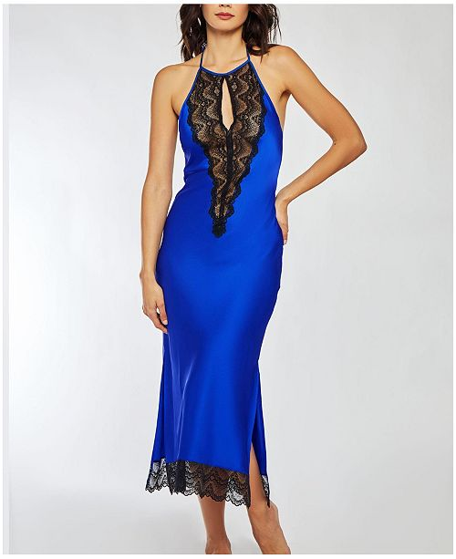 iCollection Satin Long Halter Gown with Elegant Black Lace Trim