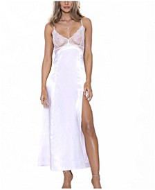 Julia Satin Duchess Sheer Lace Chemise Nightgown, Online Only