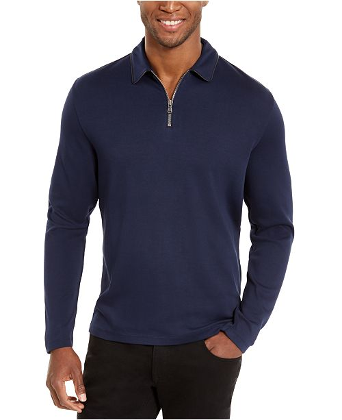 INC International Concepts I.N.C. Men's Regular-Fit 1/4-Zip Polo Shirt with Faux-Leather Trim, Created For Macy's