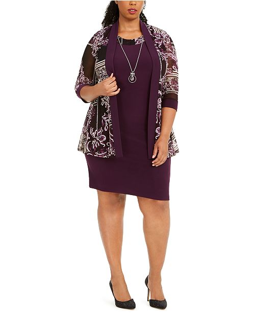 Plus Size Puff-Print Jacket, Dress & Necklace