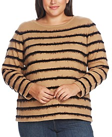 Plus Size Eyelash Yarn Striped Top