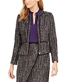 Petite Tweed Zip-Front Collarless Jacket