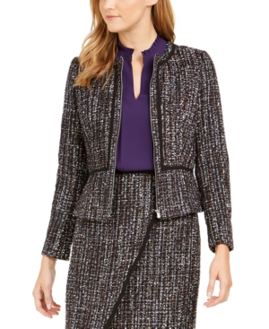 Calvin Klein Jackets TWEED ZIP-FRONT COLLARLESS JACKET