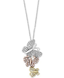 EFFY® Diamond Butterfly Pendant Necklace (3/8 ct. t.w.) in 14k Gold, White Gold & Rose Gold