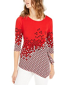 Petite Dot-Print Asymmetrical Top, Created For Macy's