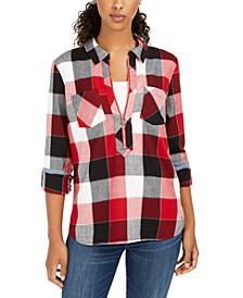 Buffalo Plaid Zip-Up Popover Shirt