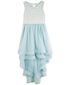 Big Girls Plus Embroidered High-Low Dress
