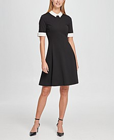 Short Sleeve Contrast Collar and Cuff Fit Flare Dress