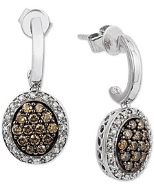 Chocolatier® Diamond Cluster Drop Earrings (5/8 ct. t.w.) in 14k White Gold
