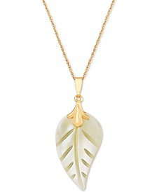 "Mother-of-Pearl Leaf 18"" Pendant Necklace in 10k Gold"