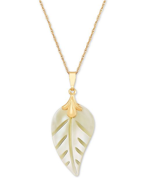 "Macy's Mother-of-Pearl Leaf 18"" Pendant Necklace in 10k Gold"