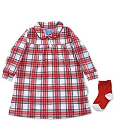 Baby Girls 2-Pc. Plaid Nightgown & Socks Set