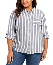 Plus Size Striped Button-Up Shirt, Created For Macy's