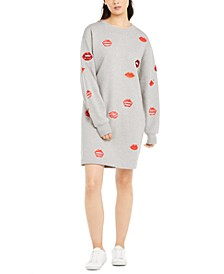 Lip-Print Sweatshirt Dress
