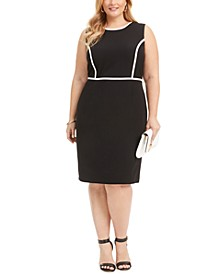 Plus Size Piped Crepe Sheath Dress