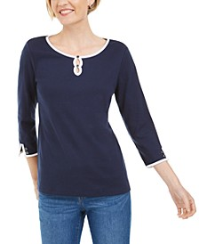 Petite Cotton Double-Keyhole Top, Created for Macy's