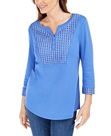 Crochet-Trim Henley Top, Created for Macy's
