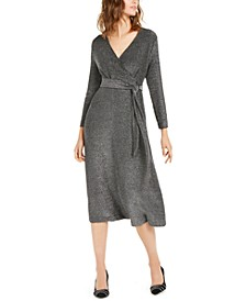 Belted Metallic Wrap Midi Dress, Created For Macy's