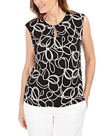 Printed Keyhole-Neck Top
