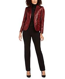 Leopard Print Jacket, Mockneck Knit Top and Flared Leg Pants
