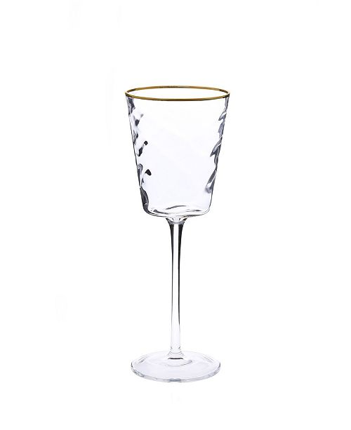 Classic Touch Set of 6 Pebble Glass Water Glasses with Gold Tone Rim