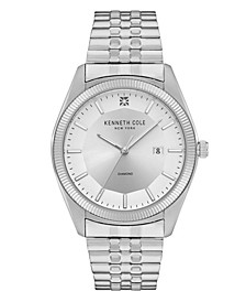 Men's Silver-Tone Stainless Steel Bracelet Watch, 41mm