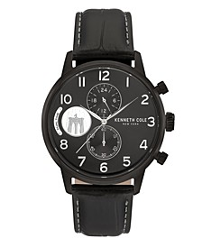 Men's Black Genuine Leather Strap Watch, 44mm