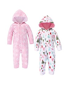 Girl Fleece Union Suits 2 Pack