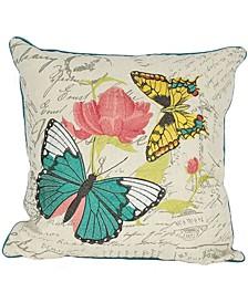 "Papillion Emboridery Pillow Collection, 18"" x 18"""