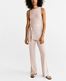 Ribbed Side Slit Trousers