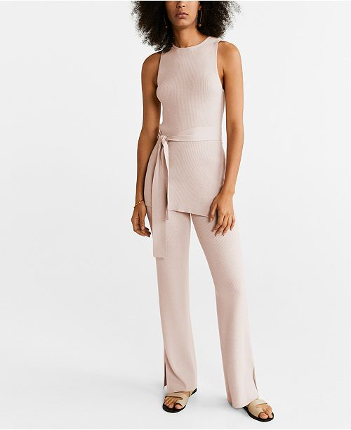 MANGO Ribbed Side Slit Trousers