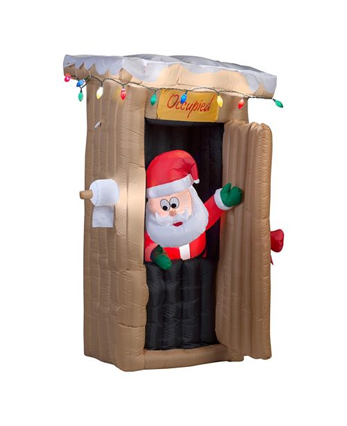 National Tree Company 6 ft. Inflatable Santa in Outhouse