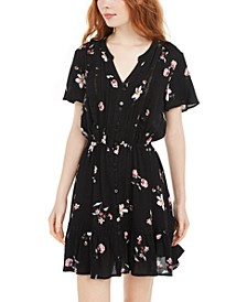 Juniors' Floral-Print Pintuck Dress, Created For Macy's