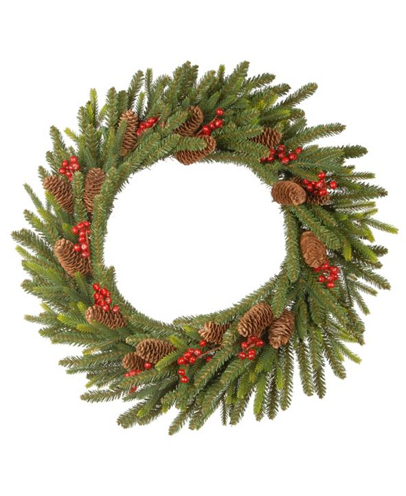 National Tree Company 24in. Dorchester Fir Wreath with Battery Operated LED Lights