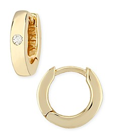 Diamond Accent Small Hinged Hoop in 14K Yellow Gold