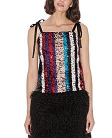 Sequin Ribbon-Strap Top