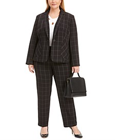 Plus Size Windowpane Jacket, Pants & Crossover Top