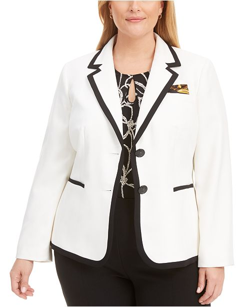 Kasper Plus Size Notch-Collar Two-Button Piped Blazer