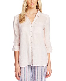 Button-Front Roll-Tab-Sleeve Linen Top