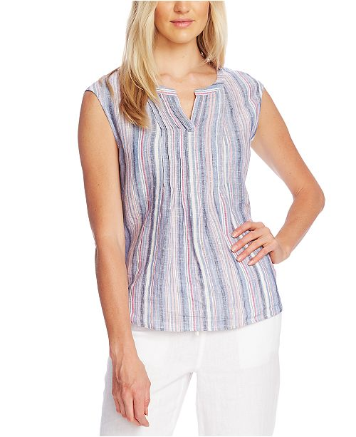 Vince Camuto Sleeveless Striped Linen Top