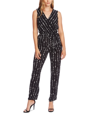 Vince Camuto Suits SLEEVELESS PRINTED BELTED JUMPSUIT
