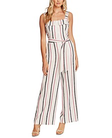 Striped Tie-Front Jumpsuit