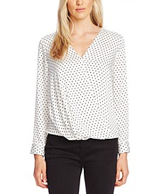 Fiesta Polka-Dot Faux-Wrap Top