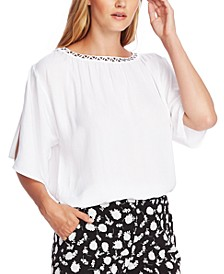 Embellished Split-Sleeve Top