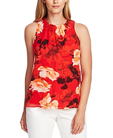 Floral-Print Ruched-Neck Top