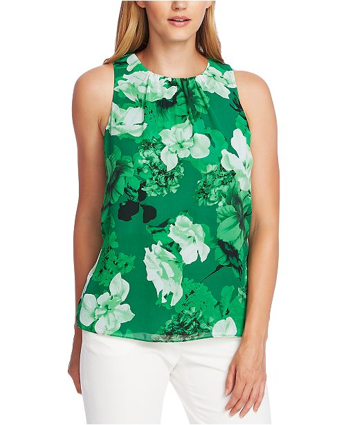 Vince Camuto Floral-Print Ruched-Neck Top