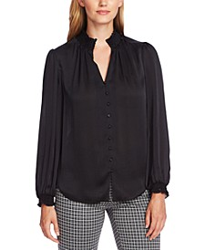 Smocked-Trim Blouse