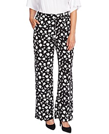 Floral Shadows Printed Wide-Leg Pants